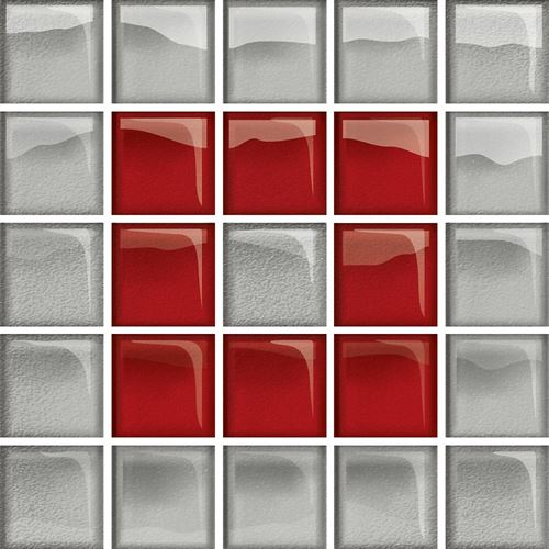 Opoczno Glass Silver/Red Mosaic B New OD660-121