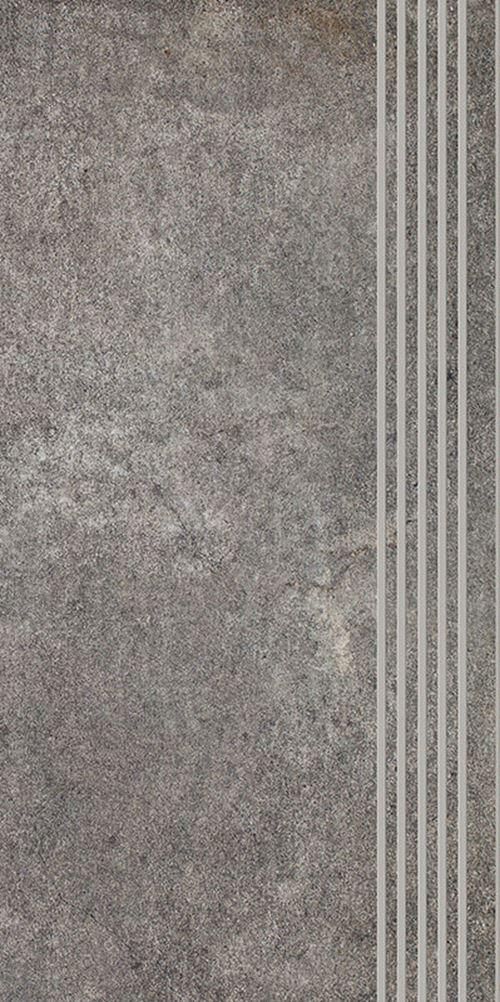 Paradyż Riversand Grafit Stopnica Prosta Nacinana Mat.