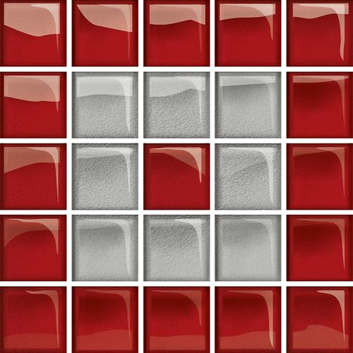 Opoczno Glass Silver/Red Mosaic C New OD660-122