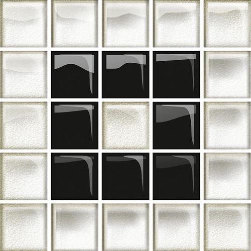Opoczno Glass White/Black Mosaic  B New OD660-117