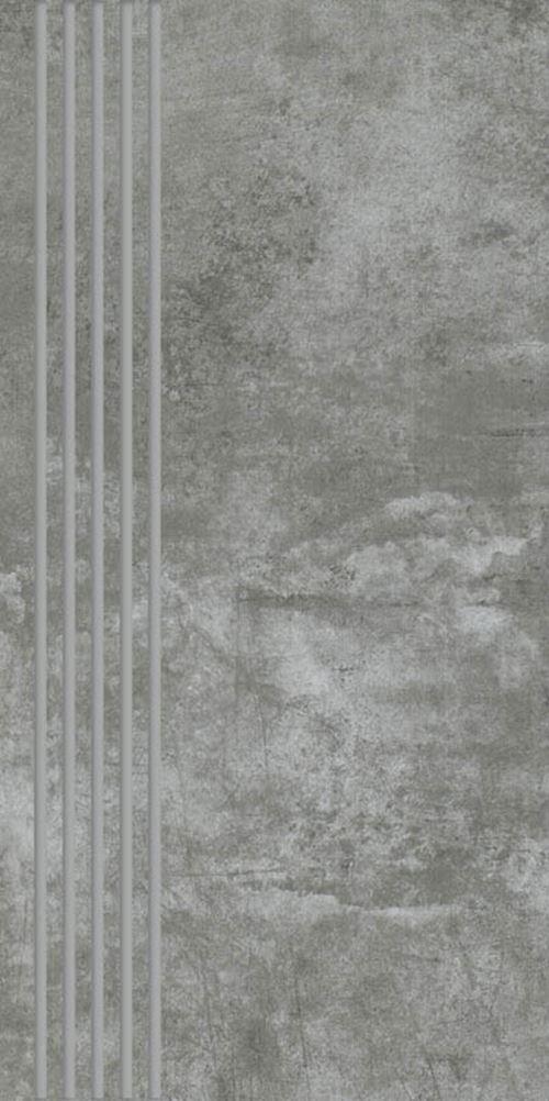 Paradyż Scratch Nero Stopnica Prosta Nacinana Mat.