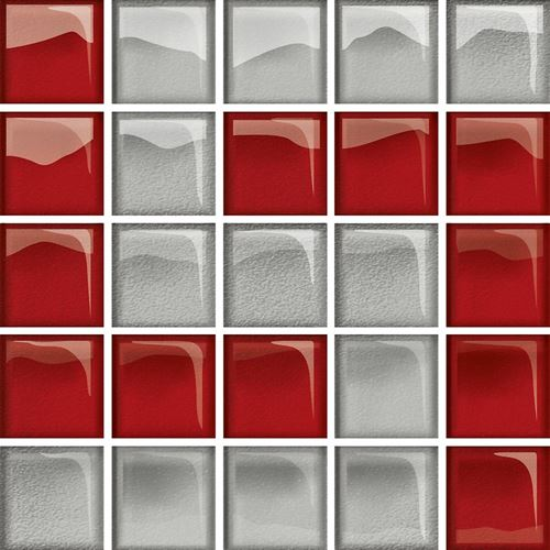 Opoczno Glass Glass Silver/Red Mosaic D New OD660-123