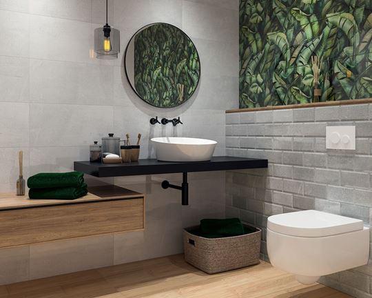 Roślinne wzory w łazience