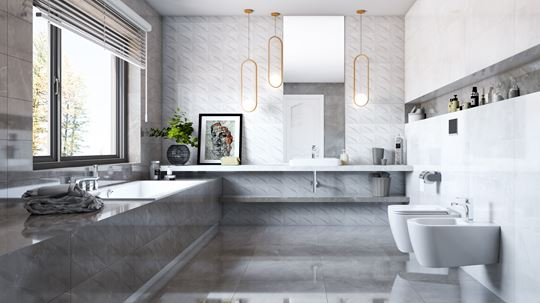 Pomysł na łazienkę - płytki strukturalne