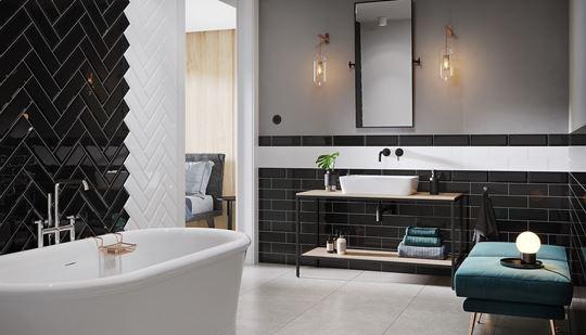 Czerń w łazience - modny trend