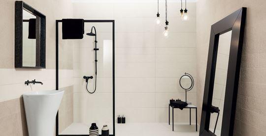 Biel i czerń w łazience