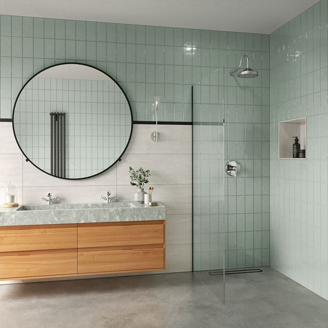 Zielona łazienka z armaturą Lacrima