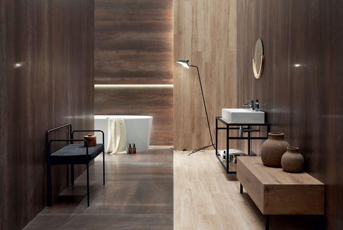 Tubądzin Tin brown LAP w aranżacji łazienki