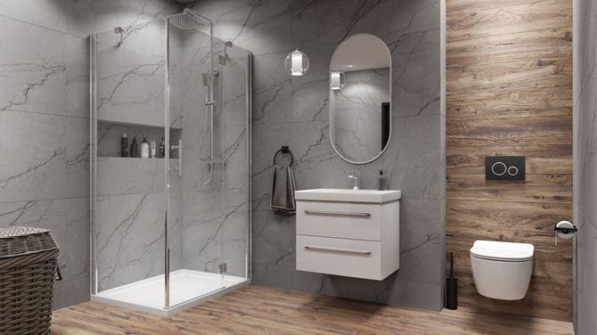 Szaro-brązowa łazienka w nowoczesnym stylu