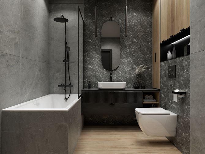 Nowoczesna łazienka w szarym kamieniu i heksagonach Paradyż Marvelstone