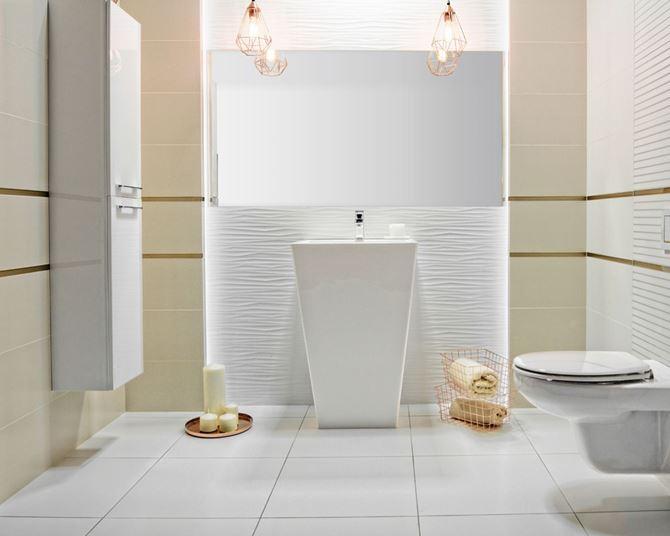 Gładkie powierzchnie i struktura w aranżacji łazienki Paradyż Elando