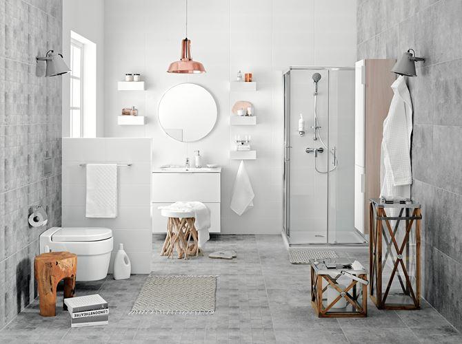 Elegancka łazienka w szarościach z bateriami Ferro