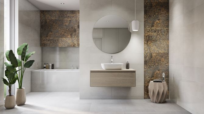 Jasna łazienka z dekoracyjną ścianą ze złotem Vijo Castelmola