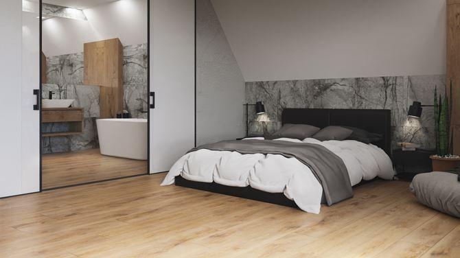 Szary kamień i drewno w nowoczesnej sypialni