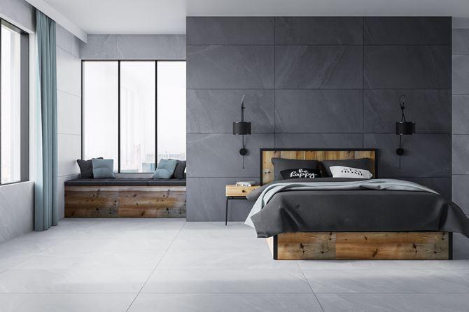 Minimalistyczna sypialnia w szarym kamieniu