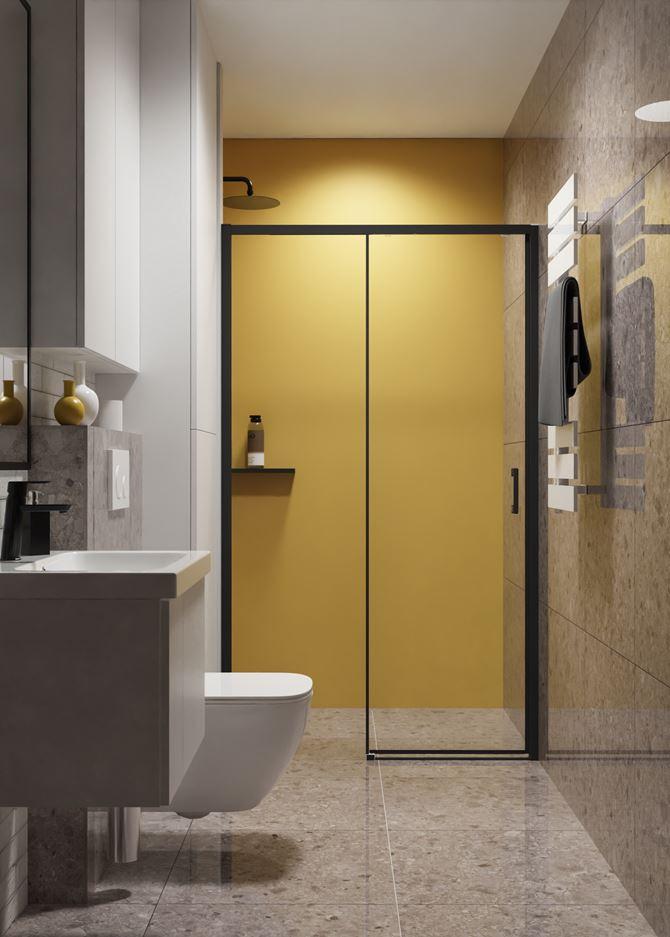 Kamień i żółta ściana w nowoczesnej łazience