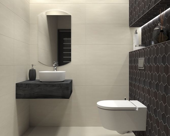 Toaleta z heksagonalną ścianą