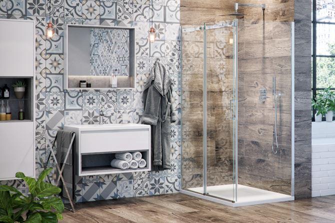 Patchworkowa ściana w łazience