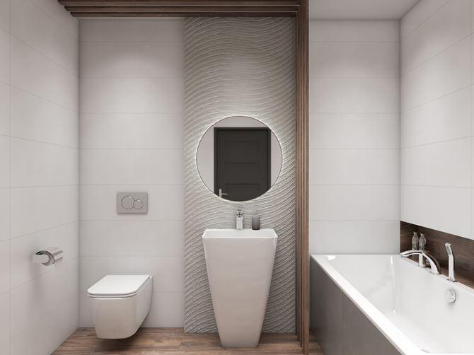 Minimalistyczna łazienka z umywalką wolnostojącą