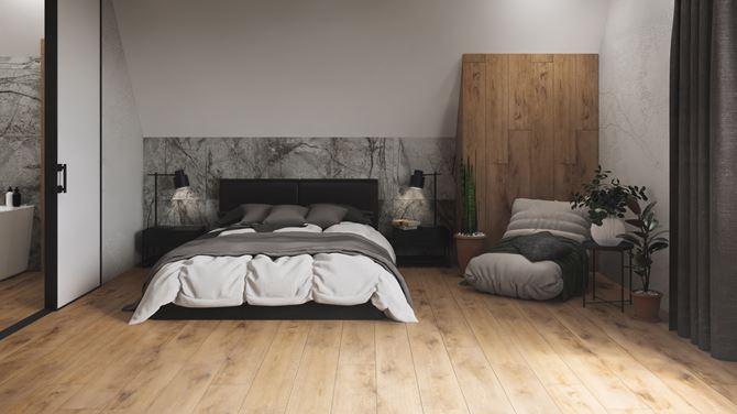 Nowoczesna sypialnia w szarym kamieniu i drewnie