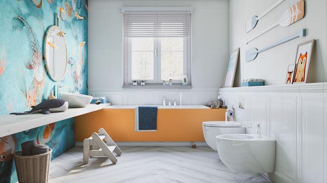 Łazienka dla dziecka - Tubądzin Royal Place i Korzilius Wood Craft