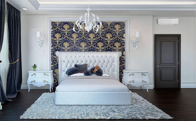 Sypialnia w klasycznym klimacie z białymi meblami