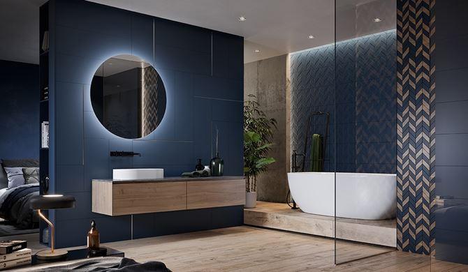 Granatowa łazienka glamour