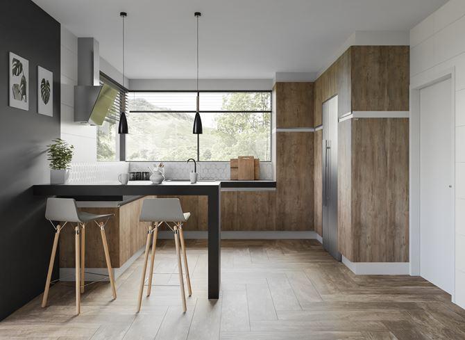 Pomysł na kuchnię w drewnie