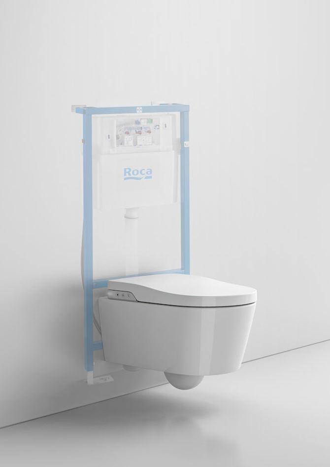 Toaleta myjąca podwieszana Rimless Roca Inspira ze stelażem