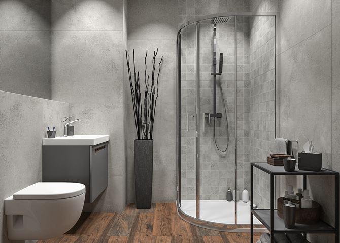 Nowoczesna łazienka z betonem i drewnianą posadzką