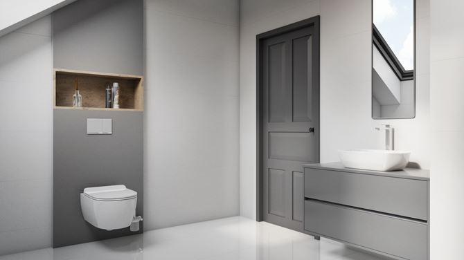 Stylowa biało-szara łazienka na poddaszu