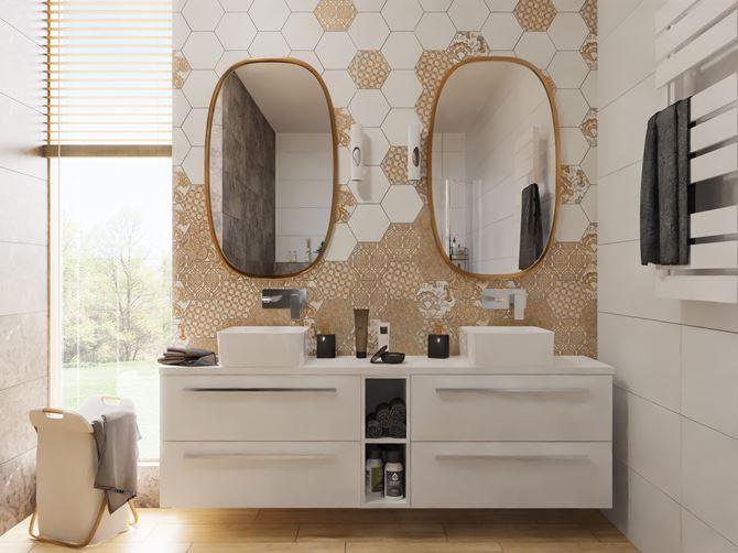 Dekoracyjne heksagony w jasnej łazience