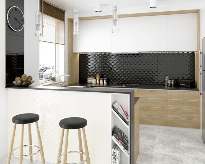 Nowoczesna kuchnia z płytkami strukturalnymi