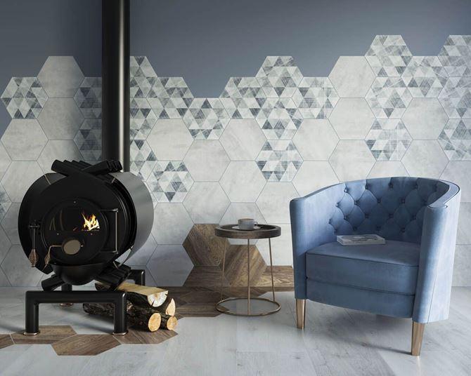 Heksagonalna ściana z kolekcji Paradyż Hexx Universum