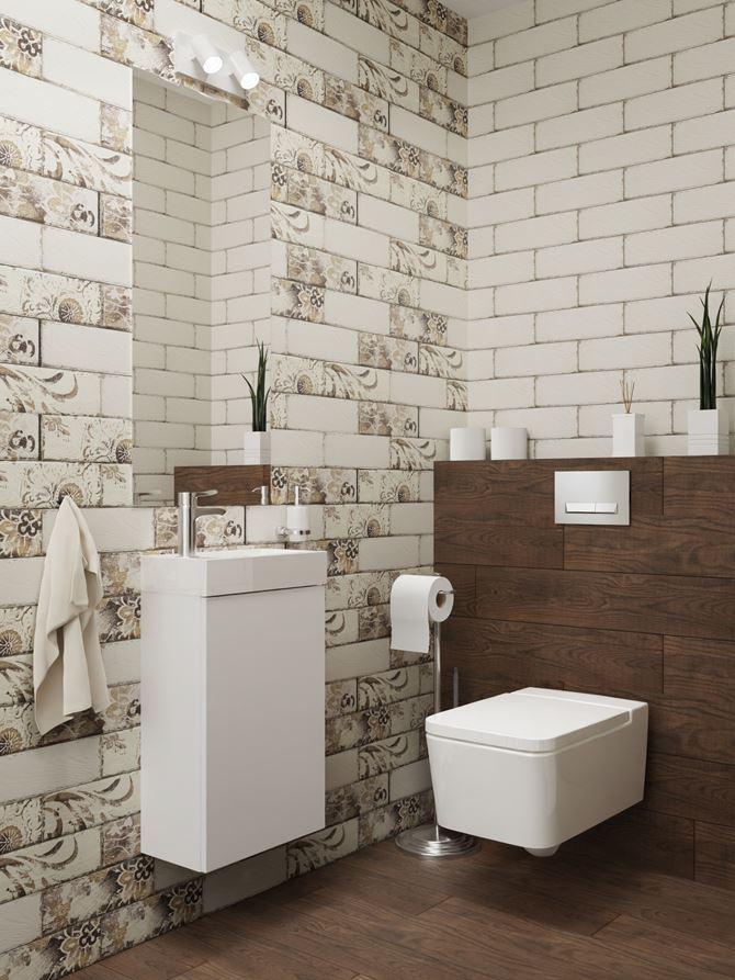 Mała łazienka z ozdobną płytką Paradyż Rondoni