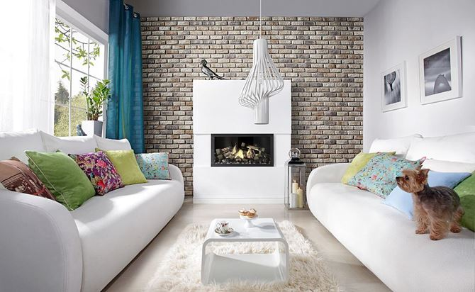 Salon z kamienną ścianą Stone Master Loft Brick Sahara