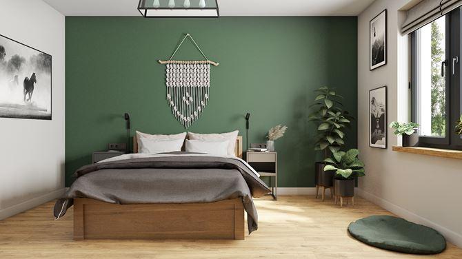 Nowoczesna sypialnia z drewnianą podłogą