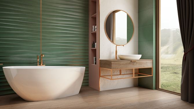 Zielona łazienka glamour z płytką strukturalną
