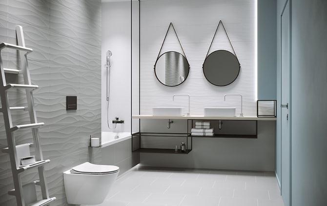 Szaro-biała łazienka ze strukturą