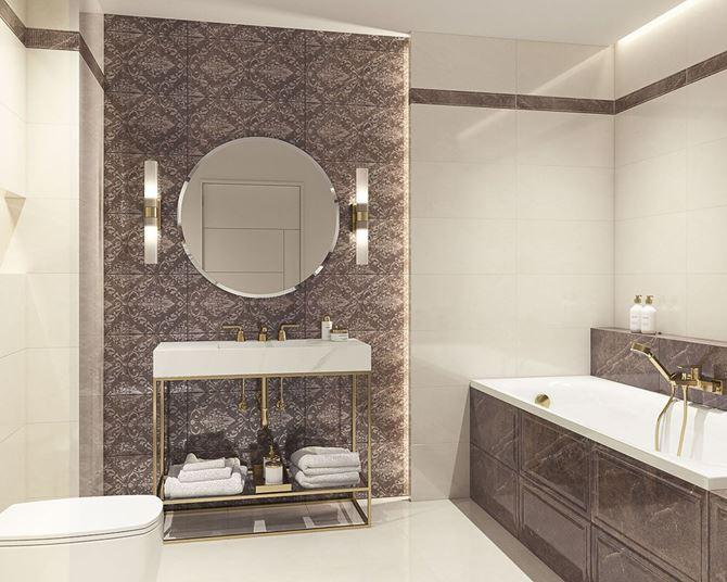 Łazienka glamour z ornamentową, brązową ścianą