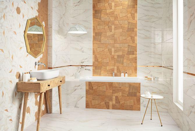 Drewno, kamień i heksagony w eklektycznej łazience