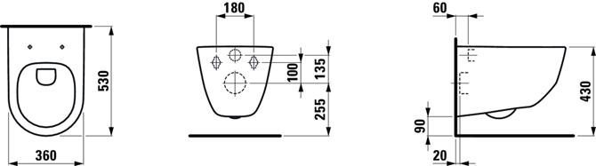 Zestaw miska WC podwieszana z deską Laufen Pro rysunek