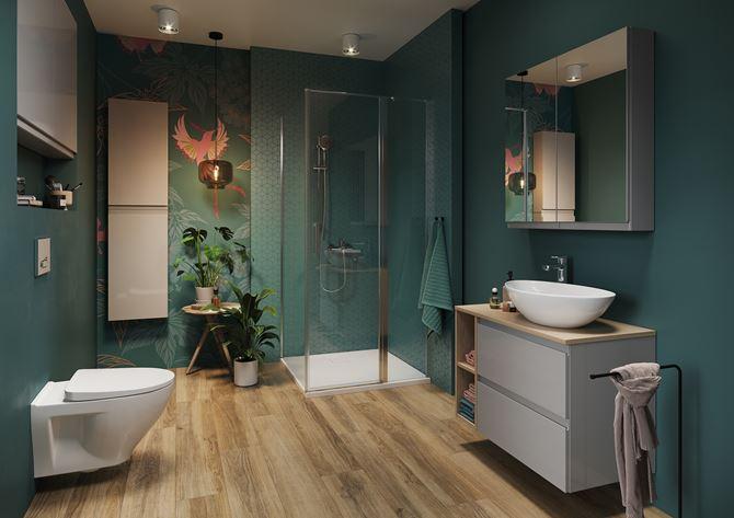 Zielona łazienka z dekoracyjną ścianą