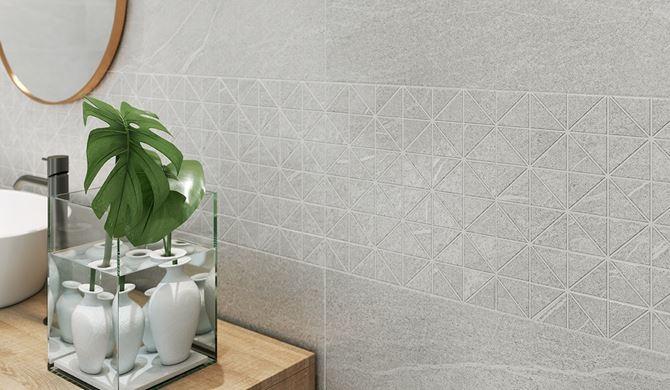 Kamienna mozaika z trójkątnymi elementami