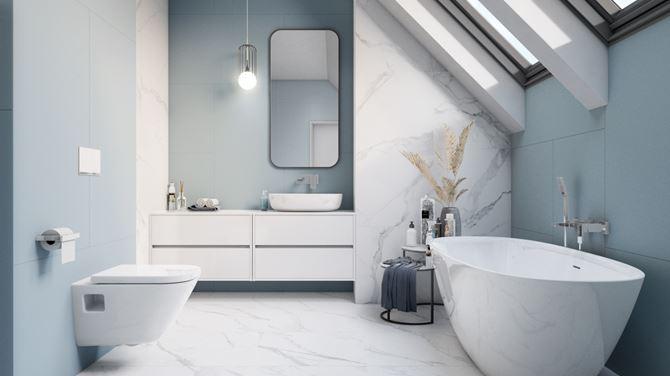 Nowoczesna łazienka w bieli i błękicie