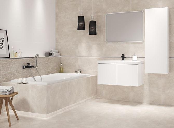 Ciepły beż w łazience - Cersanit Normandie