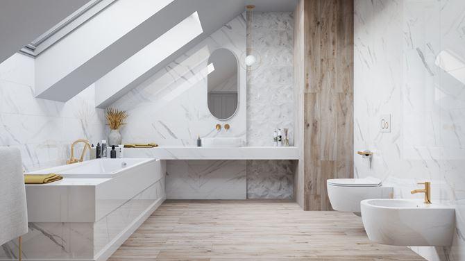 Marmurowa łazienka na poddaszu Vijo Clarena