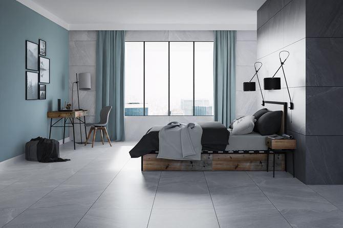 Nowoczesna sypialnia w płytach w wzorem kamienia
