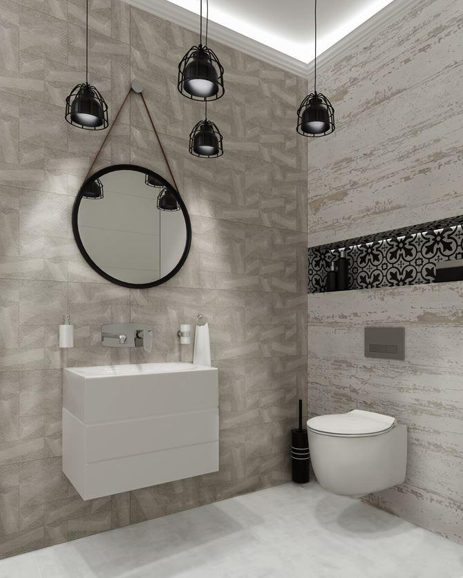 Hiszpański akcent w szarej łazience - Azario Nevesta