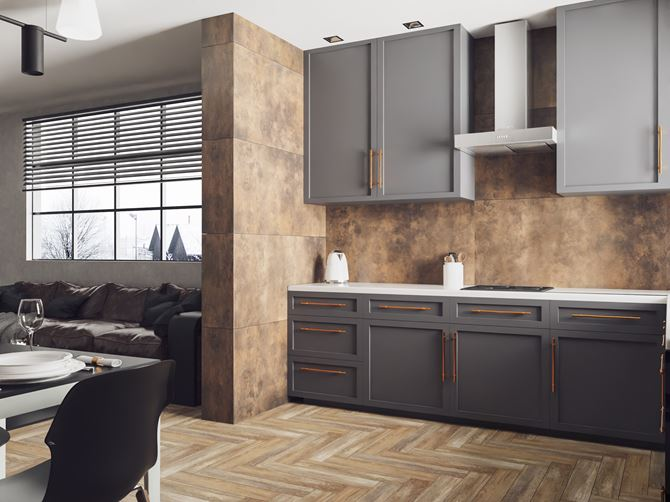 Brązowy kamień i drewno w kuchni otwartej na salon